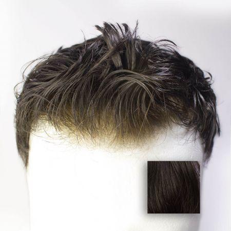 French Lace Toupet - Farbe #1B Schwarzbraun